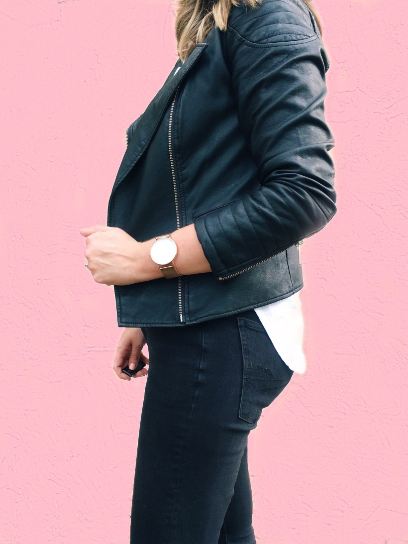 Faux Leather Biker Jacket Outfit, Style Blog, Budget Style