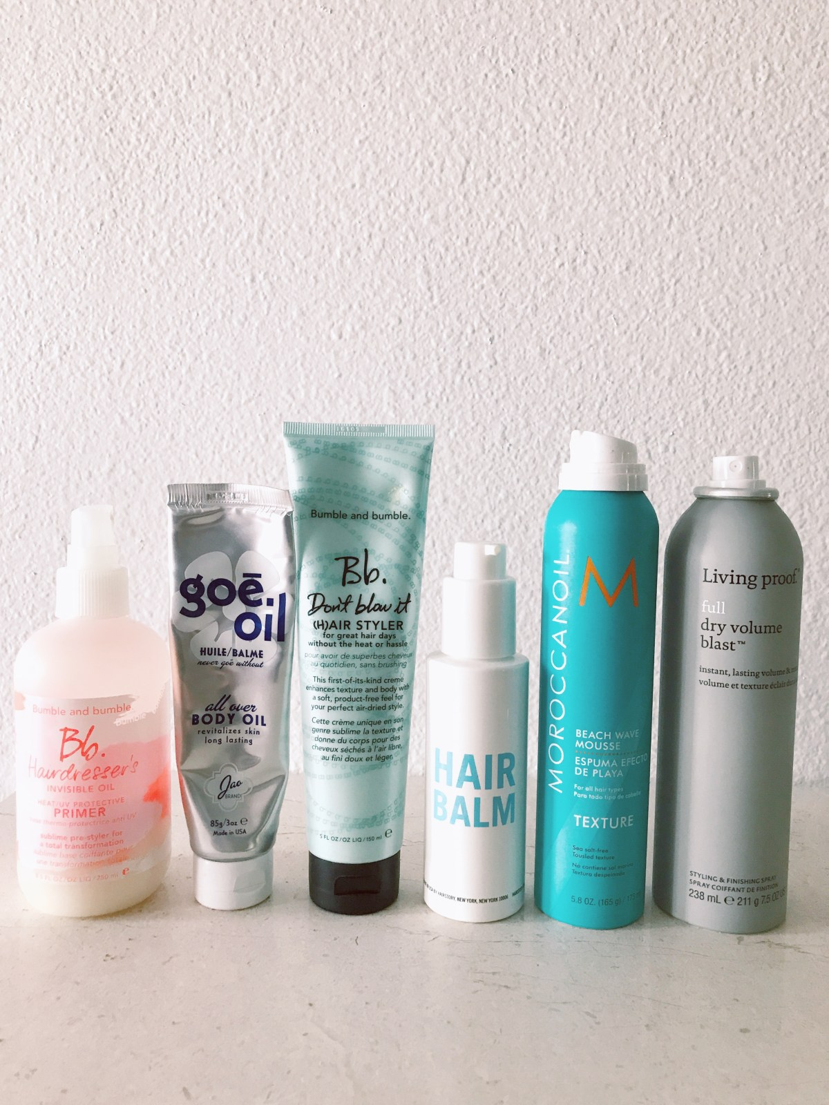 Best Products For Air Drying Hair: Bumble and Bumble Hairdresser's Invisible Oil & Don't Blow It Air Styler, Hair Balm, Moroccanoil Beach Wave Mousse, Living Proof Full Volume Blast