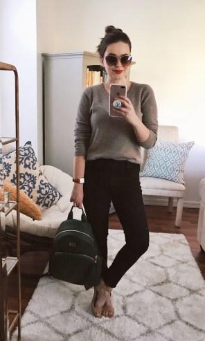 Monday :: TJ Maxx cashmere sweater + Levi's black skinnies + TJ Maxx sandals + NARS 'Light My Fire'
