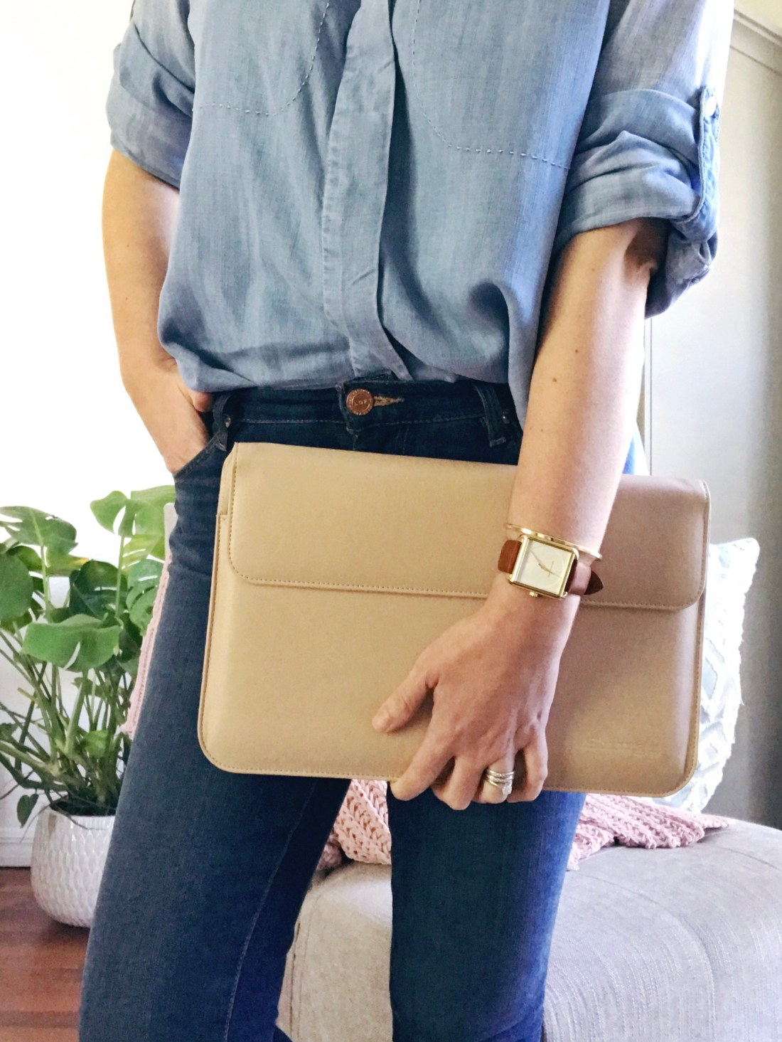 Snugg Nude Leather Macbook Case, Stylish Organization Accessories