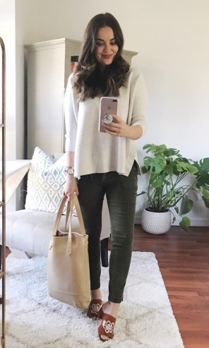 LOFT sweater + skinny cargo pant + TJ Maxx embroidered mules + old Hautelook leather tote