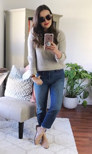 m.marie sweater (old) + Levi's 'Wedgie' jeans + TJ Maxx patent loafer mules
