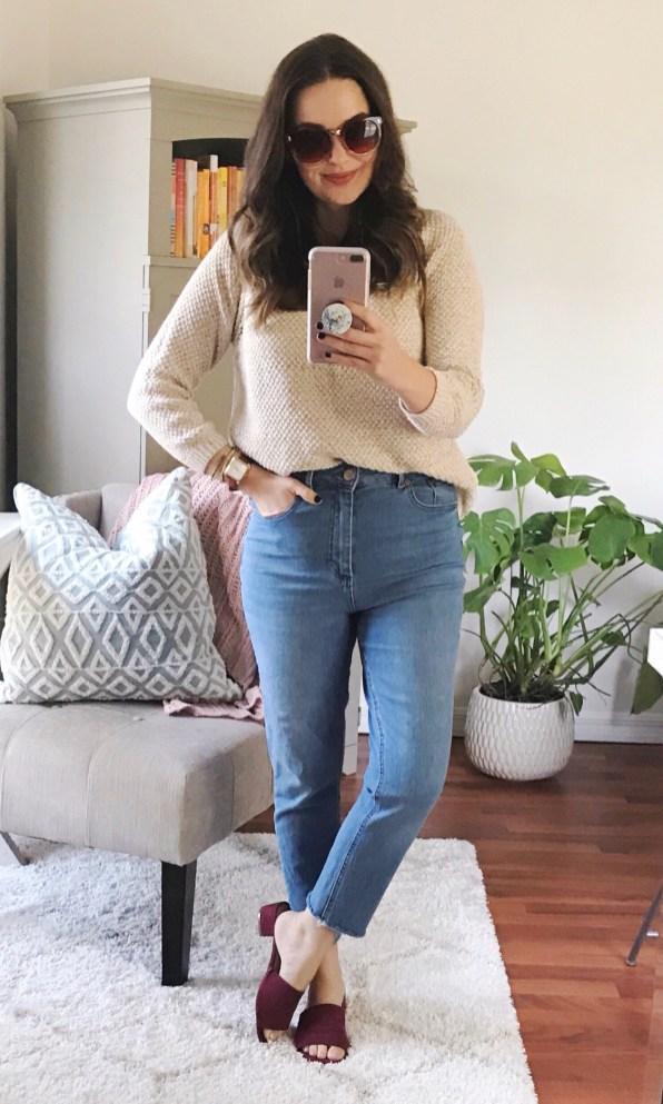 m.marie sweater (old) + ASOS 'Farleigh' slim mom jeans ($51!) + TJ Maxx mules
