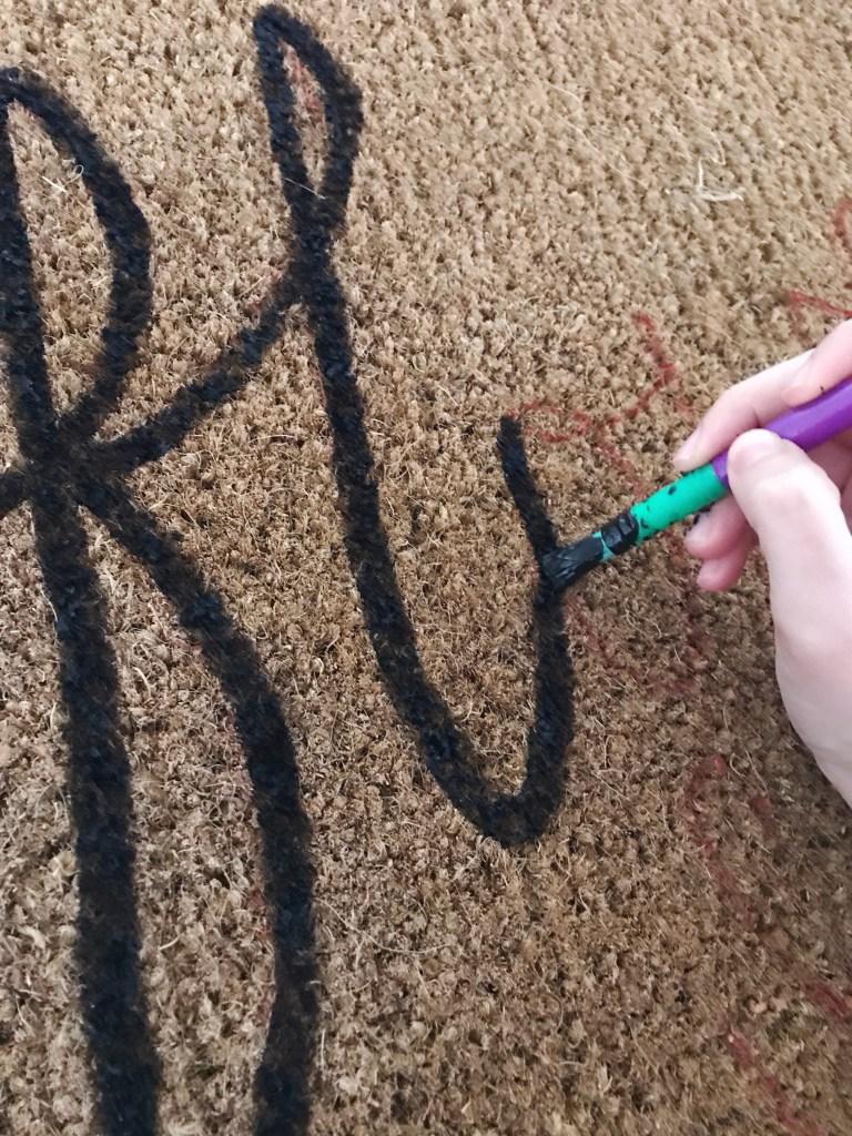 DIY doormat painting step 1