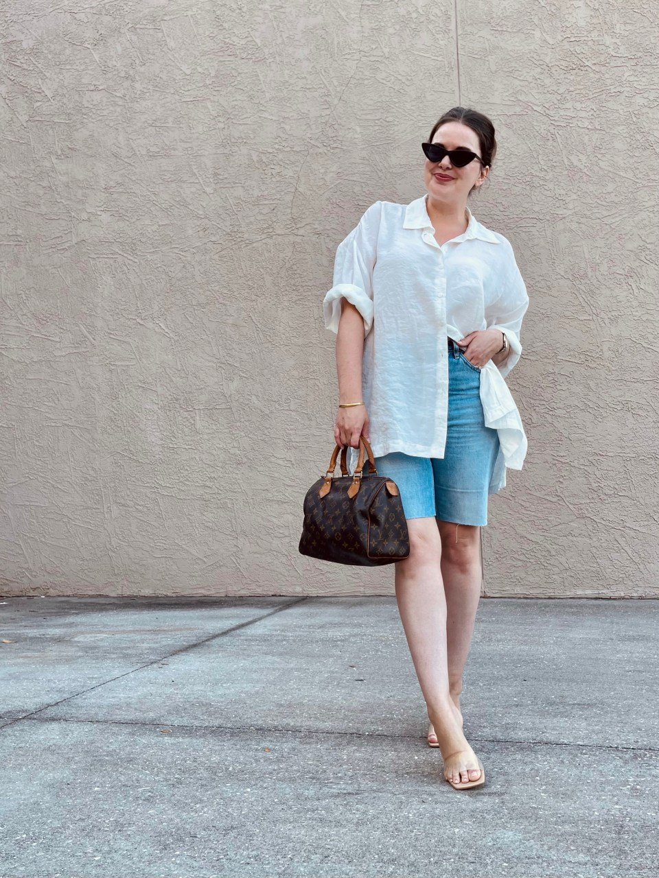 Denim Bermuda Shorts Outfit 2021 with Everlane Cheeky shorts and Zara top and shoes