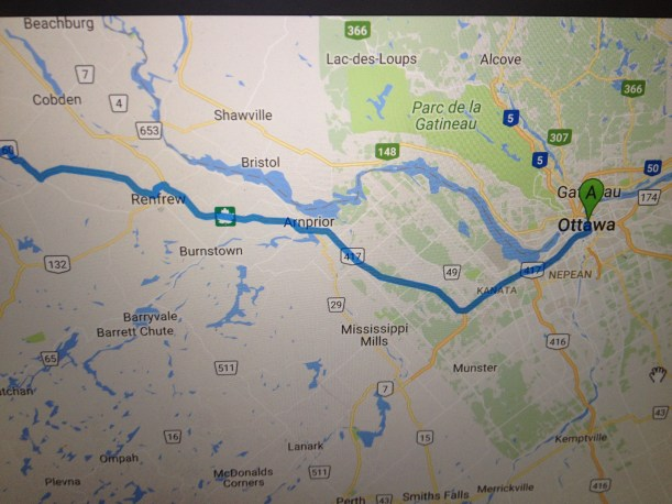 Map for planned return from Ottawa. We ended up at the base of Algonquin Park. Much more beautiful than 401.