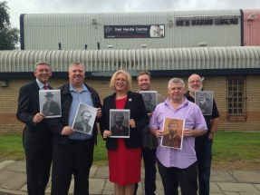Society members join local MSPs Michael McMahon and Elaine Smith at the Keir Hardie Leisure Centre