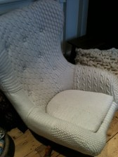 Cable knitting chair covering