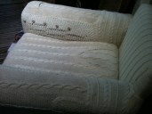 Recycled knitting for chair covering