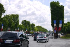 Champs Elysees decorated for May 8 commemorations.