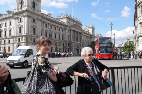 Grandmother and granddaughter in London
