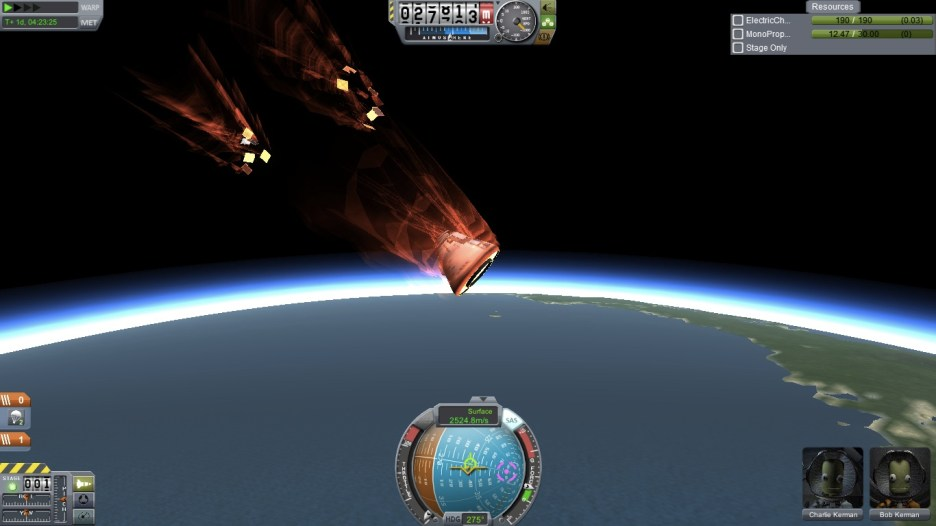 Note to self: solar panels break off during re-entry. Even in real life.