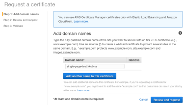 Enter the domain name(s) you'd like to add to the certificate