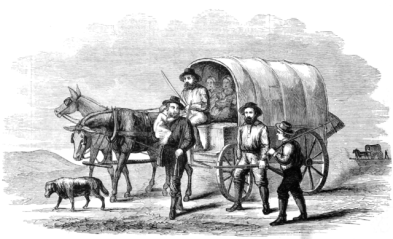 Drawing of Wagon train crossing the Plains in 1859 [Public domain]