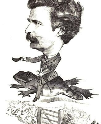Drawing of Mark Twain on bullfrog's back by Frederick Waddy, 1872 [Public domain]