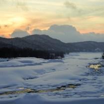 Snowy sunset central hokkaido, japan