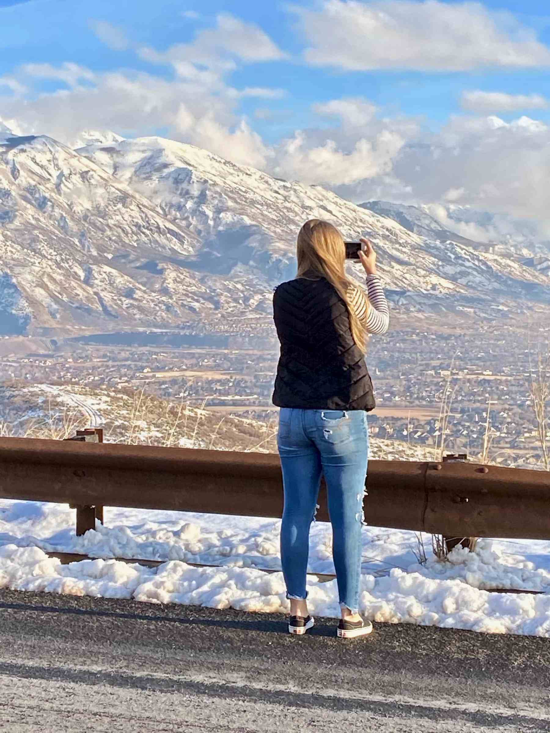 Cayla getting a shot of the valley