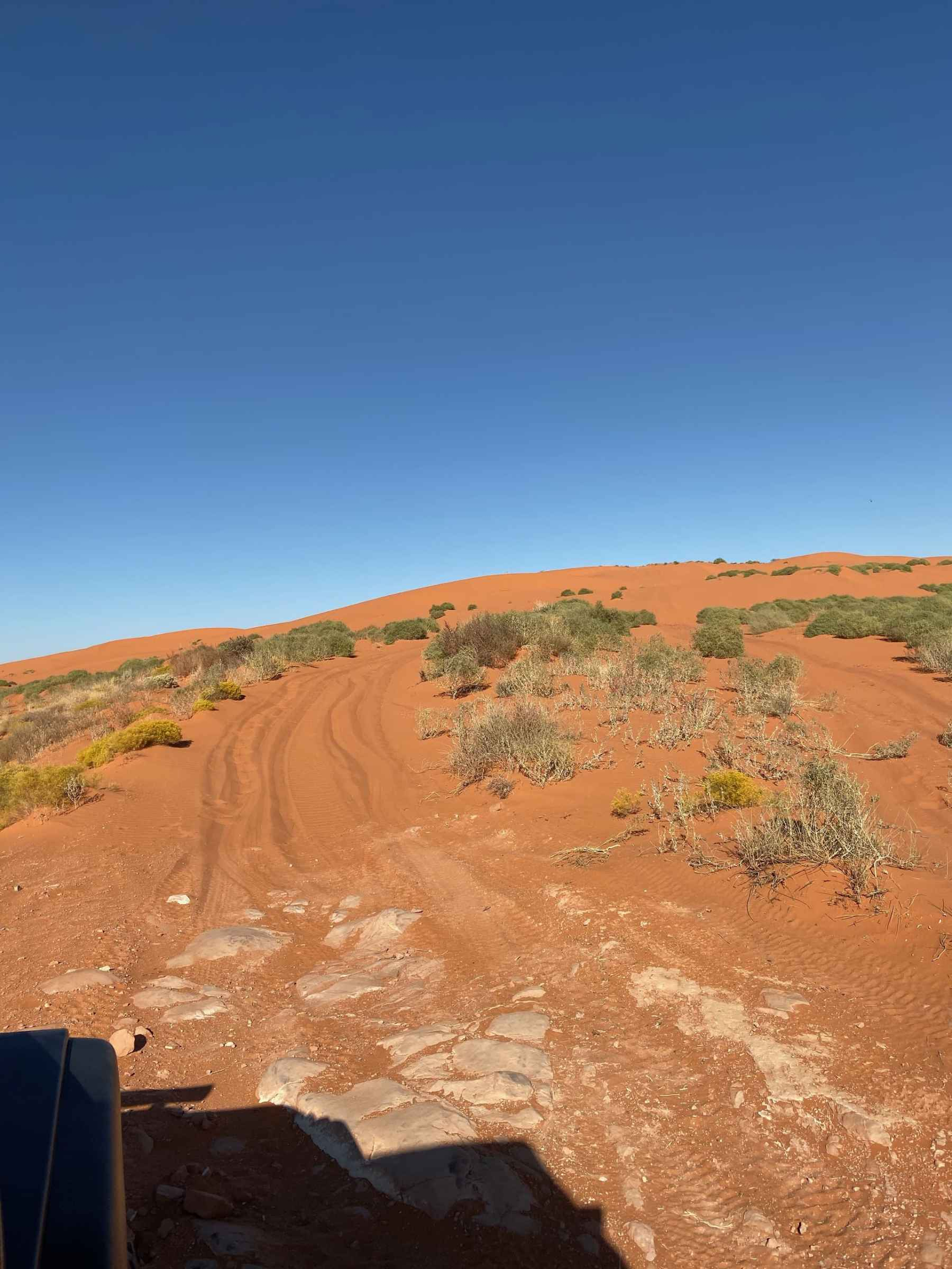 driving onto the sand dunes
