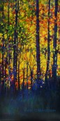 The late afternoon sunlight coming through the bright fall leaves reminded me of an abstract stained glass window with brilliant color.