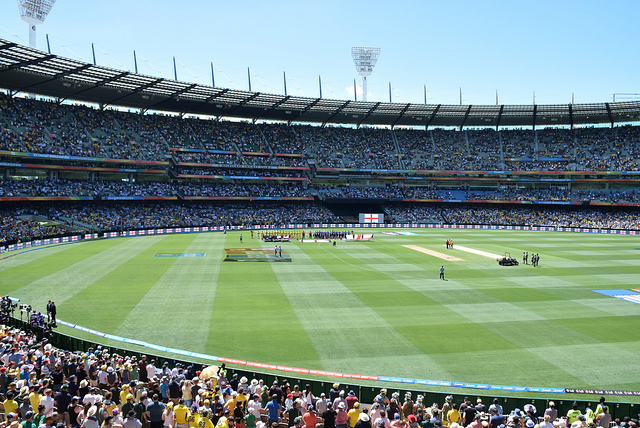 A picture of Australia and England at the Gabba before the World Cup game.