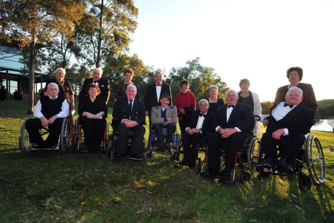 Seven of the members of the 1960 Australian Paralympic Team - the first - at the reunion to mark the 50th anniversary of the Games. The team members and their partners were guests of honour at the 2010 Australian Paralympian of the Year Awards. All but one of the pictured athletes except one were accompanied by their long-term wives of husbands. Of the 12 athletes who attended the Games, eight were still alive 50 years later (Frank Ponta was too ill to attend). L to R (athlete and partner): Chris O'Brien with his sister, Daphne Hilton (nee Ceeney) with husband Frank, Gary Hooper with wife Jan, APC President Greg Hartung (standing in dinner suit), Bruno Moretti with wife Scarlett, Kevin Coombs with wife Linda, Kevin Cunningham with wife Maureen, and Bill Mather-Brown with wife Nadine.