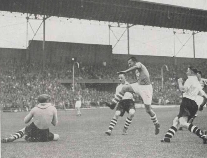 A photograph of one of the 47 shots at goal in the West Europe v Central Europe football game played on 20 june 1937.