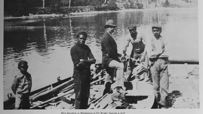 A photograph of Aboriginal Whalers at Eden, NSW.