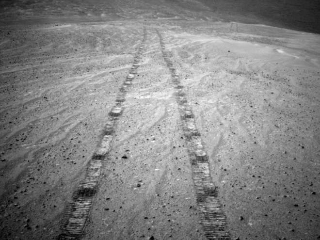 Tyre tracks on Mars from the Opportunity Rover.