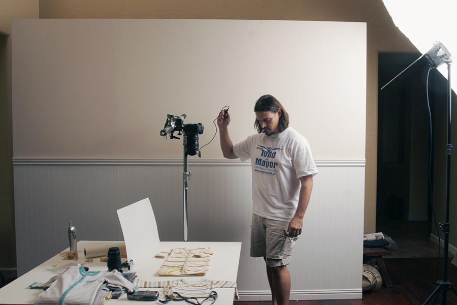 keith shooting baby clothing at home