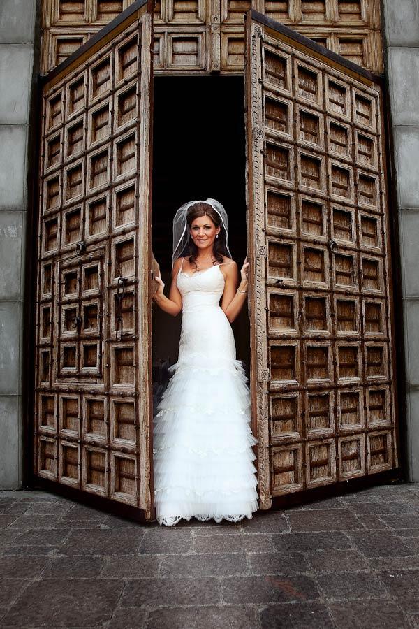 bride at the spanish doors