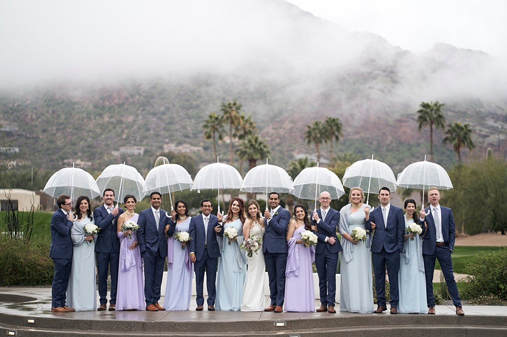 bridal party photo in the rain at mountain shadows Arizona