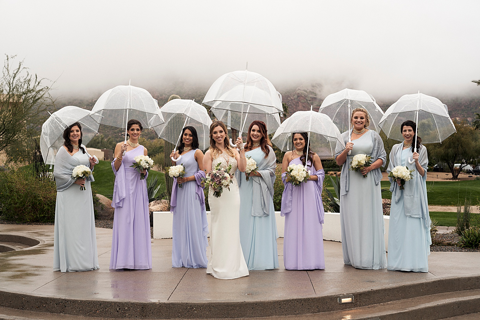 bridesmaids wedding party photo at mountain shadows