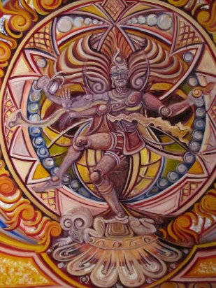 Shiva dances within the Aureole, a luminous cloud of radiance. Shiva dances along the edge between Fire and Water . . .