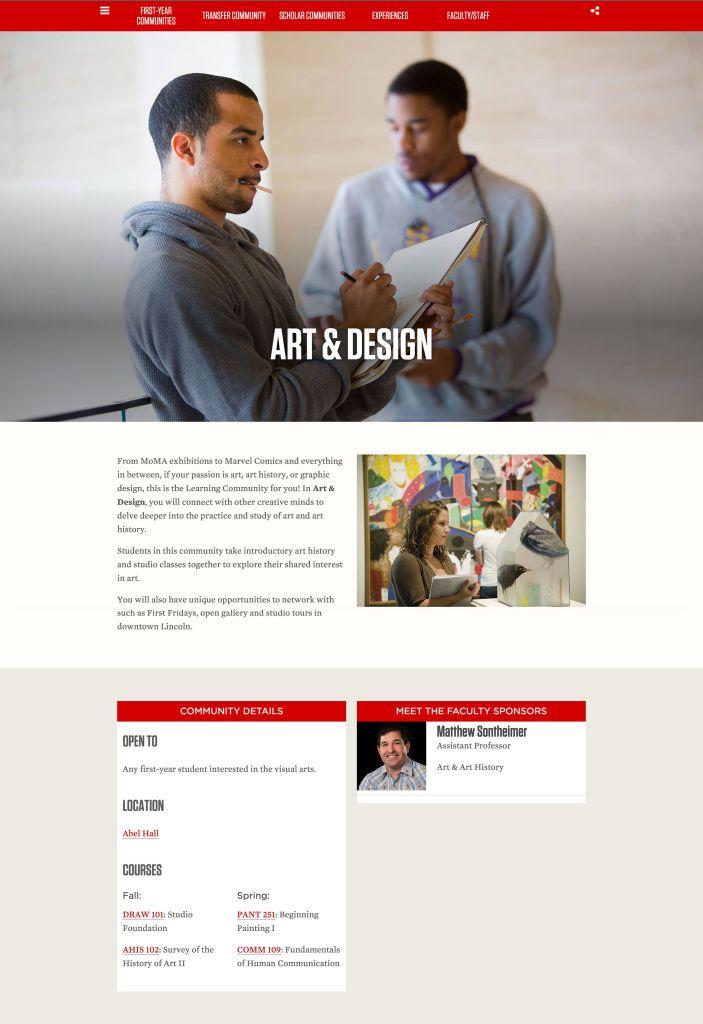 Art & Design Learning Communities webpage