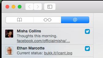 The Social tab of Safari's sidebar.