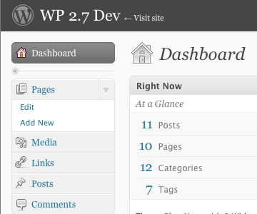 Screenshot of plugin running on WordPress 2.7