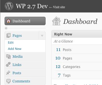 Screenshot of plugin running on WordPress 2.7