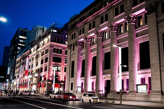 Building were lit up in pink for the 2017 Nihonbashi Sakura Festival