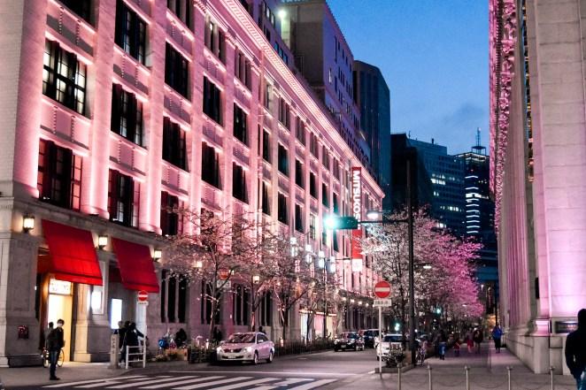 Building were lit up in pink for the 2017 Nihonbashi Sakura Festival