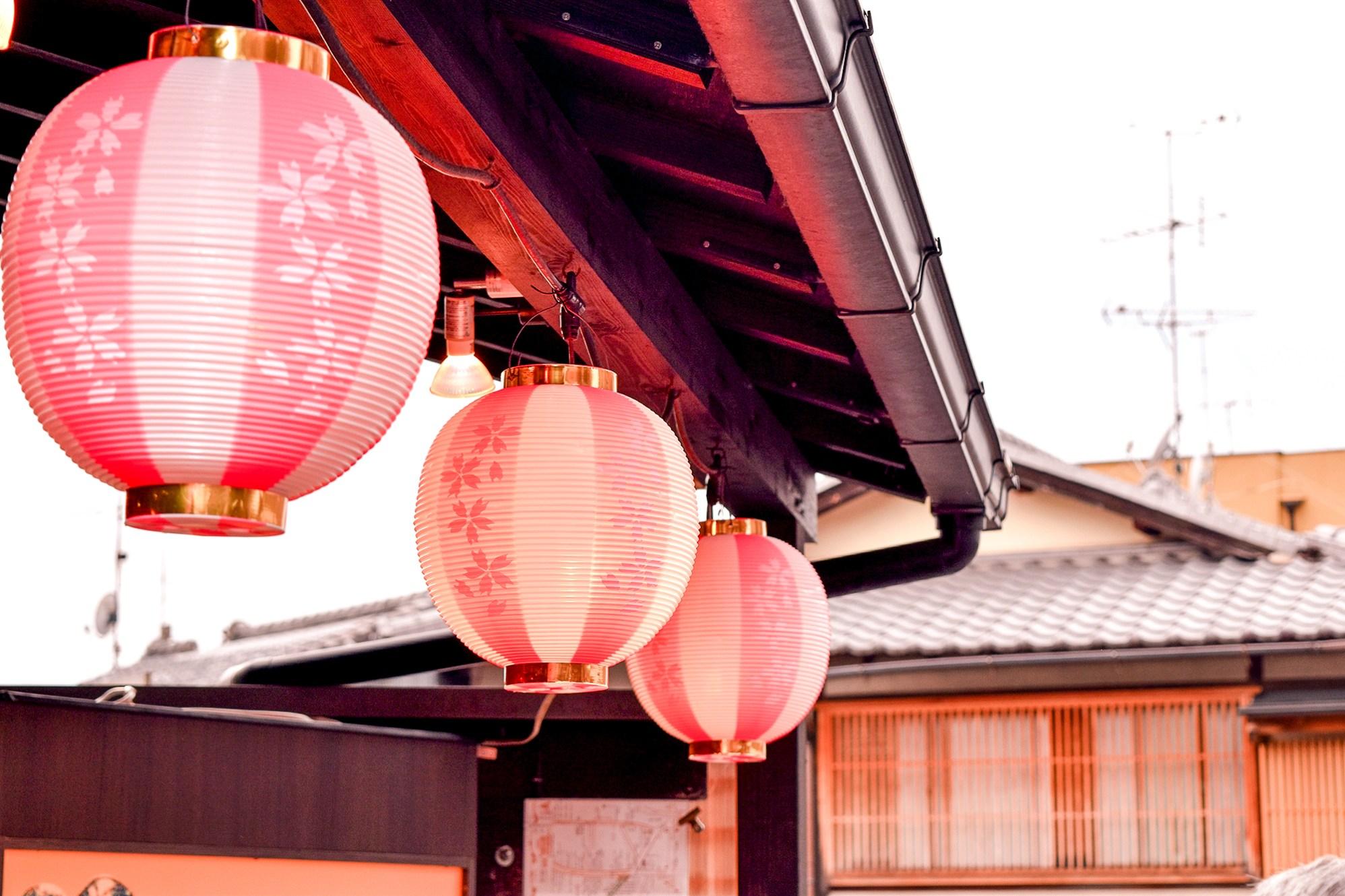 Lanterns adorned with sakura