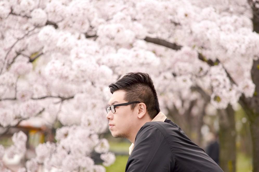Ander among the sakura in Kema Sakuranomiya Park in Osaka, Japan