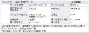 IPO抽選結果 メルカリ(4385)