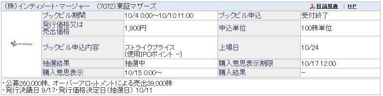 IPO抽選結果 インティメート・マージャー