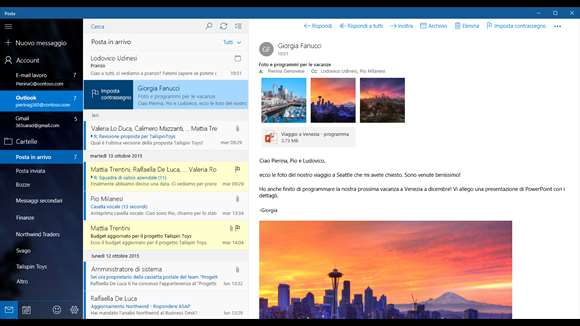 Posta e Calendario si aggiorna su Windows 10