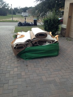 Some of the carpet that we're getting hauled away.