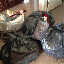 Just a few of the trash bags we accumulated on the first day of cleaning out our new house.