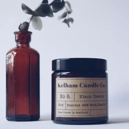 Cherry scented soy wax candle jar with Kelham Candle Co hand made in Sheffield label