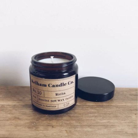 Mocha scented soy wax candle jar with Kelham Candle Co hand made in Sheffield label