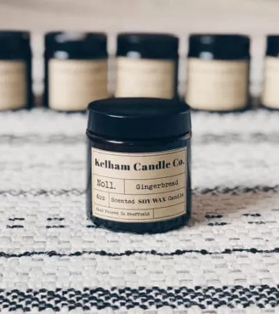 Gingerbread scented soy wax candle jar with Kelham Candle Co hand made in Sheffield label