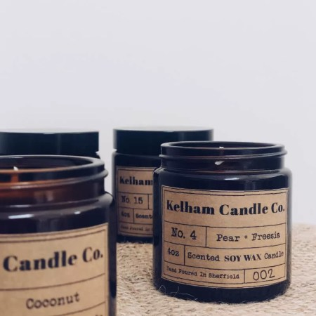 Pear scented soy wax candle jar with Kelham Candle Co hand made in Sheffield label